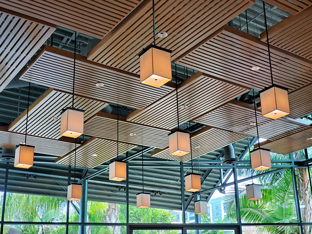 common area ceiling with light fixtures