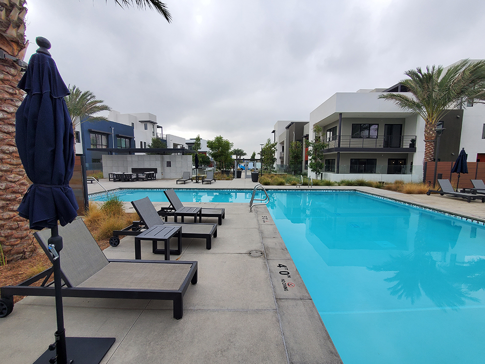 completed pool area of a new construction residential community