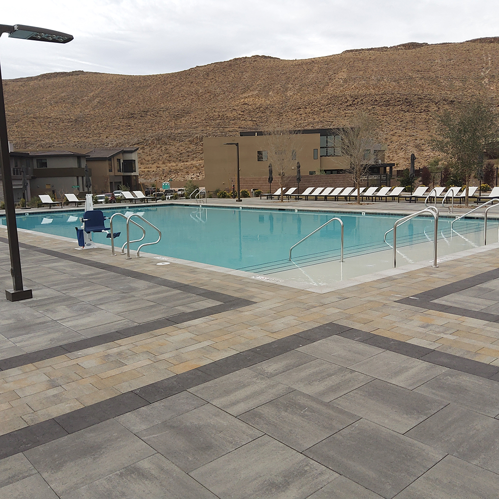 completed pool area at residential community