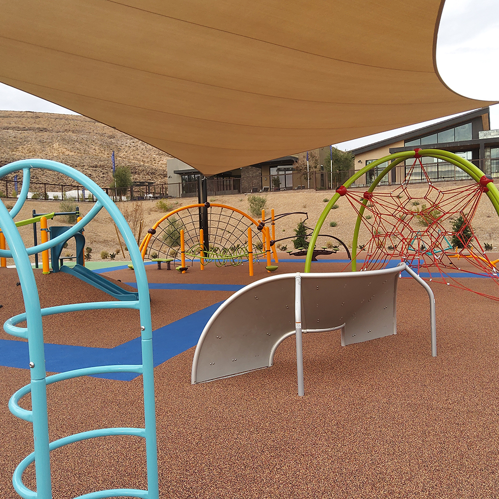completed common area children's playground at residential community