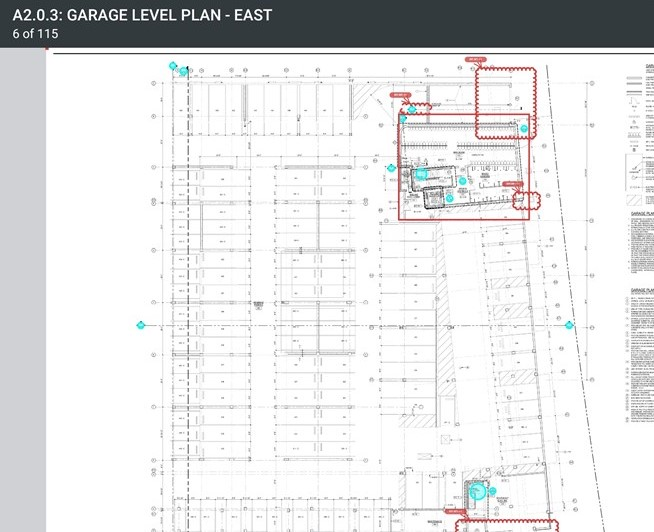 excerpt from redlined construction documents