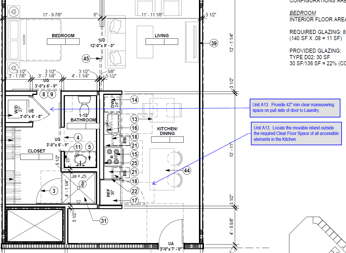 excerpt from ADA redlined construction documents