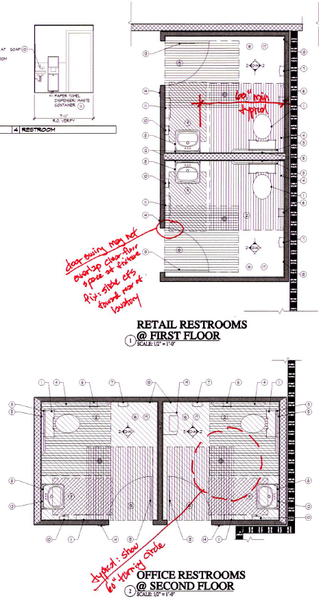 excerpt from construction documents redlined for accessibility concerns