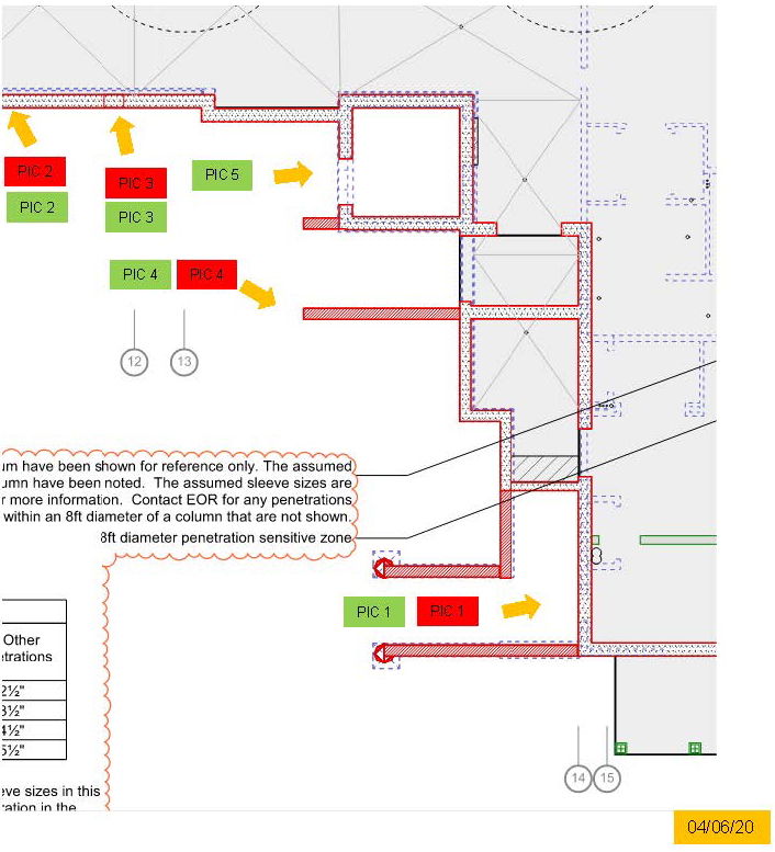 excerpt from ground plan redlined with waterproofing concerns which corresponds with 2 other photos