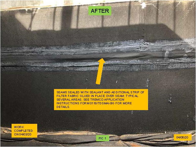 the seam after waterproofing work is completed