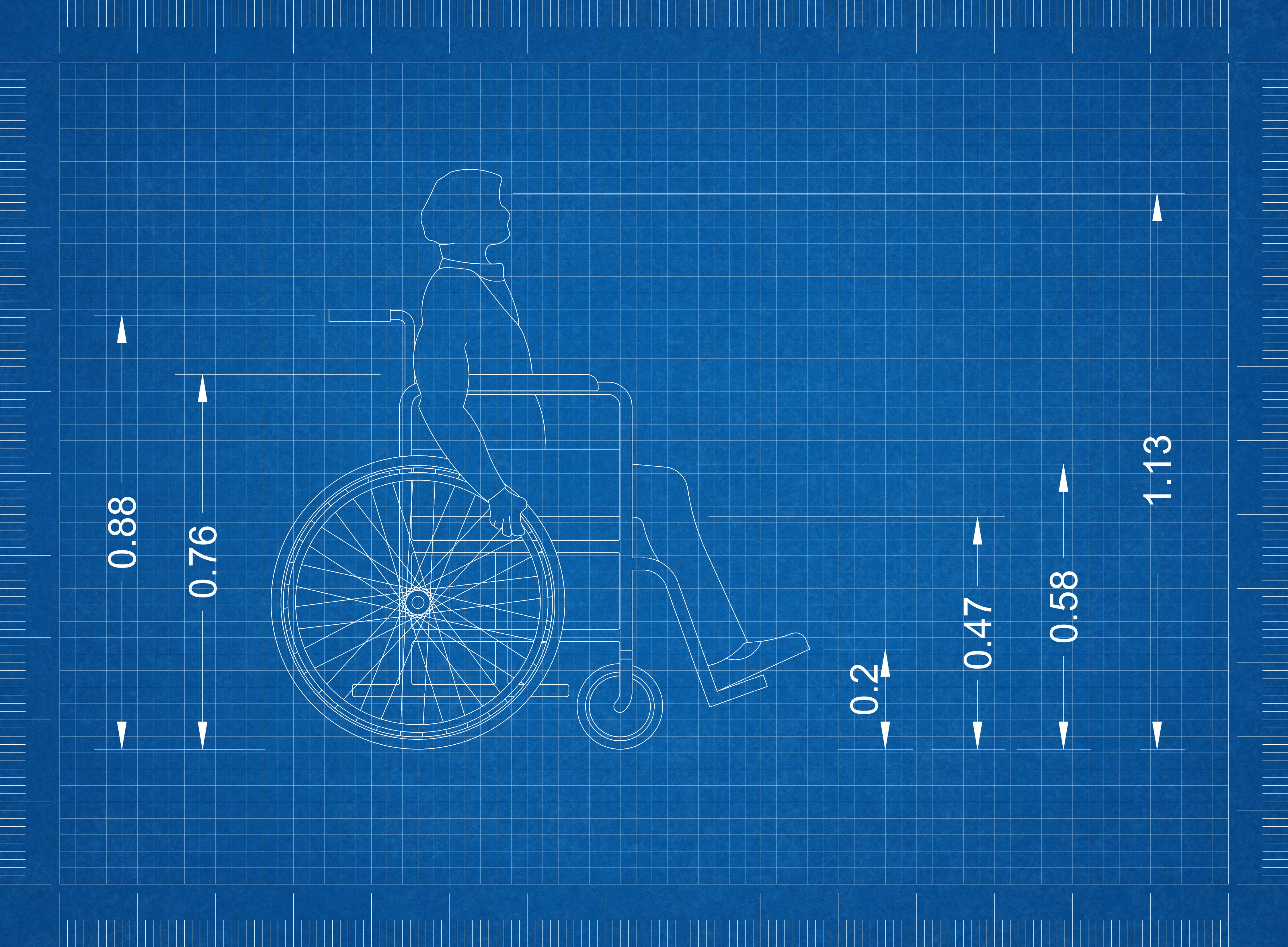 blueprint of wheelchair user with measurements