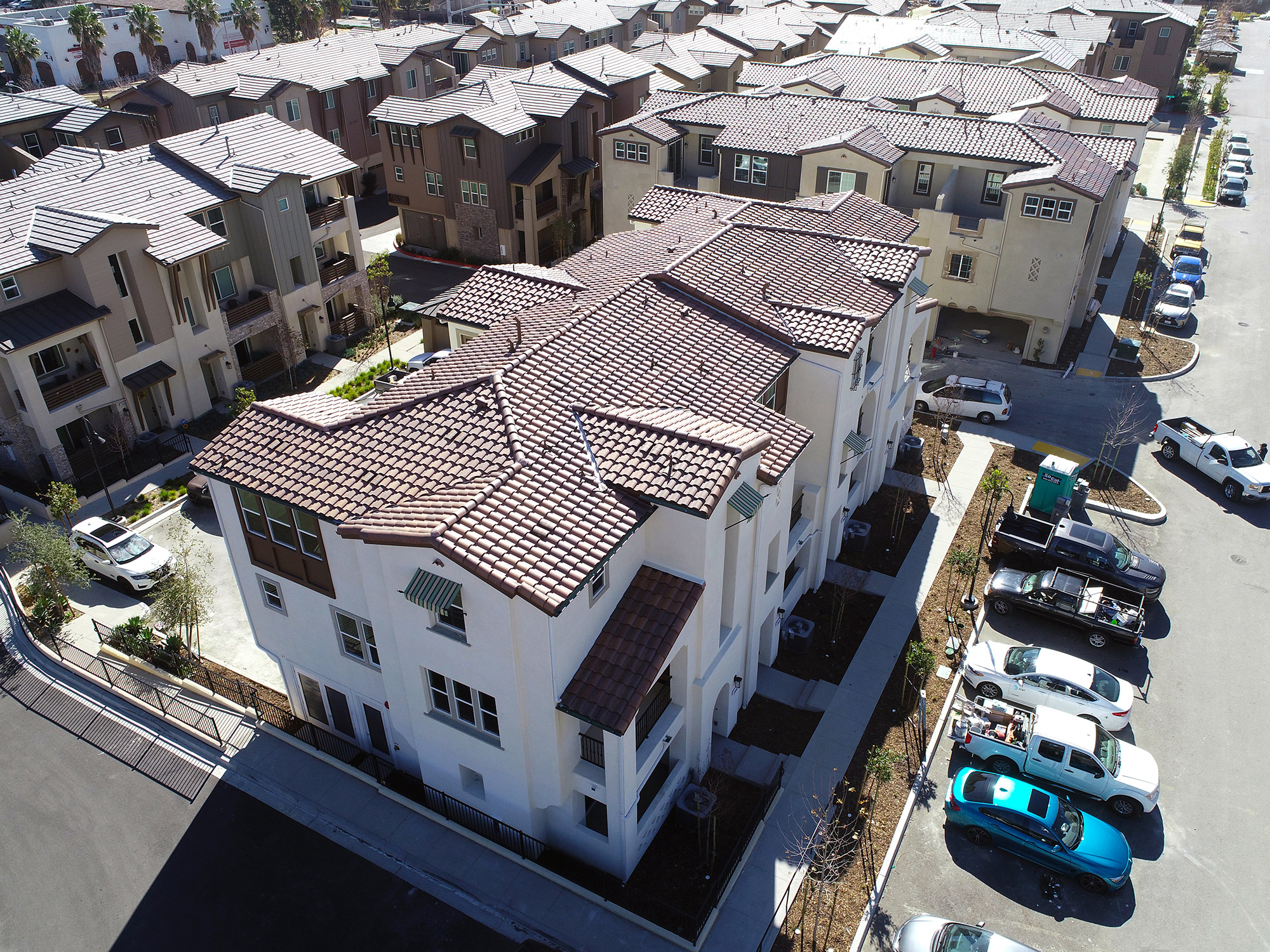 rooftop view of new construction residential community
