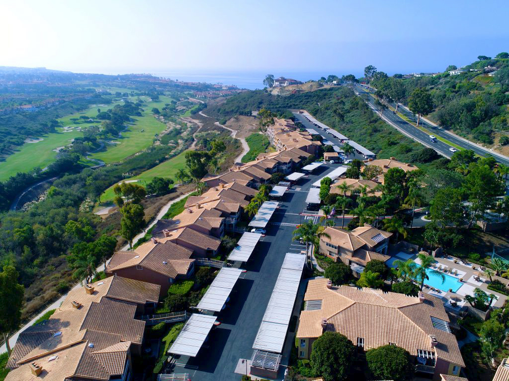 aerial view of a California apartment community